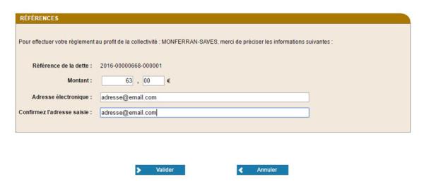 Etape 4 : saisir le montant et votre adresse email